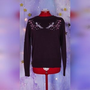 Burgundy sweater embroidered cherry blossom cranes